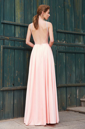 Pink A Line Floor Length Sleeveless Backless Beading Satin Prom Dress,Party Dress P357 - Ombreprom