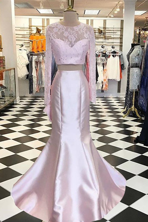 Pink Two Piece Trumpet Sweep Train Long Sleeve Keyhole Back Lace Prom Dress,Formal Dress P283 - Ombreprom
