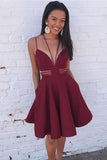 Elegant Burgundy Satin V Neck Sleeveless Short Homecoming Dress M443