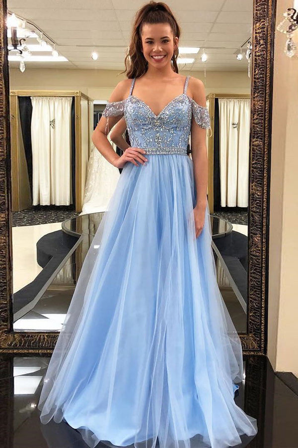Light Blue A Line Brush Train Sweetheart Spaghetti Beading Tulle Prom Dress,Party Dress P464