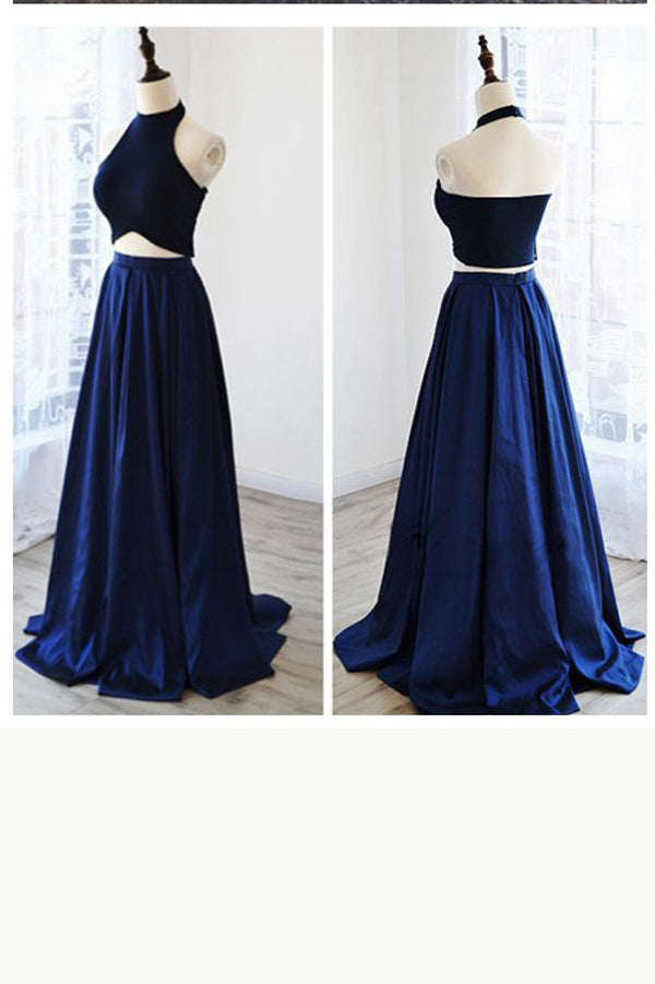 Royal Blue Two Piece A Line Sweep Train Halter Sleeveless Backless Prom Dress,Formal Dress P112 - Ombreprom