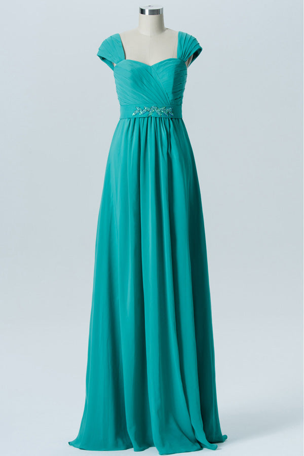 Marine Green A Line Floor Length Sweetheart Capped Sleeve Beading Cheap Bridesmaid Dresses