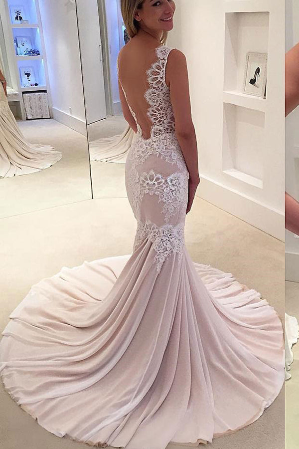 Mermaid Court Train Sleeveless Sheer Back Simple Wedding Dress,Perfect Wedding Dress W273