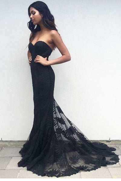Black Trumpet Court Train Sweetheart Sleeveless Mid Back Prom Dress,Party Dress P130 - Ombreprom