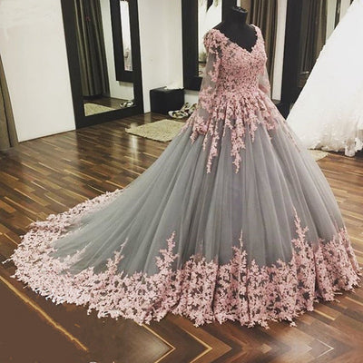 Ball Gown Chapel Train V Neck Long Sleeve Layers Tulle Appliques Prom Dress,Party Dress P394 - Ombreprom