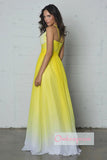 Ombre A Line Brush Train Halter Sleeveless Mid Back Chiffon Prom Dress,Formal Dress O22 - Ombreprom