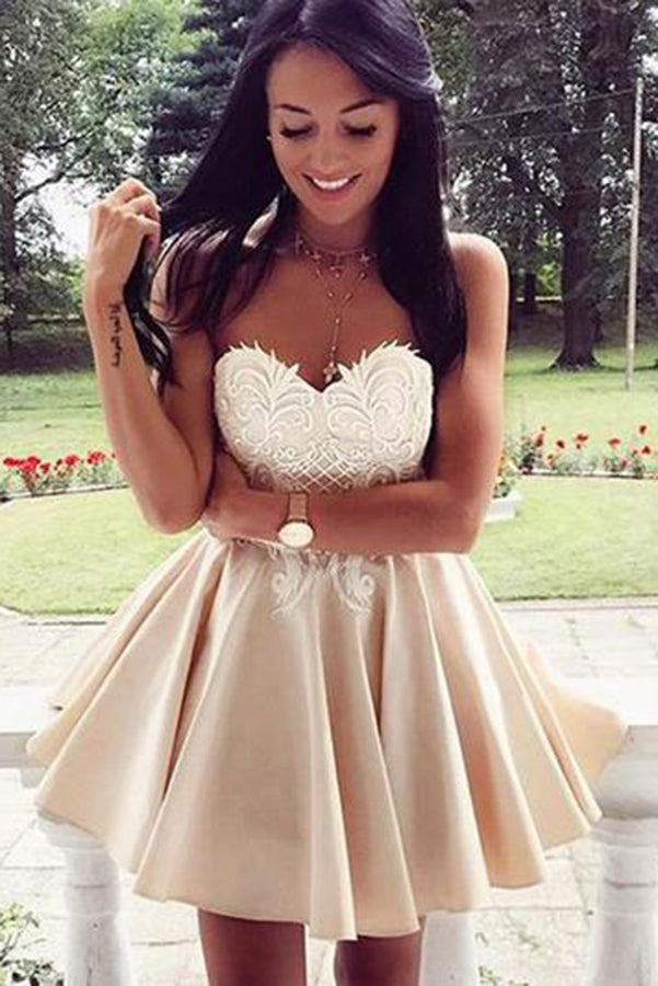 Sweetheart  Neck  A-line Strapless Taffeta Short Homecoming Dresses M440