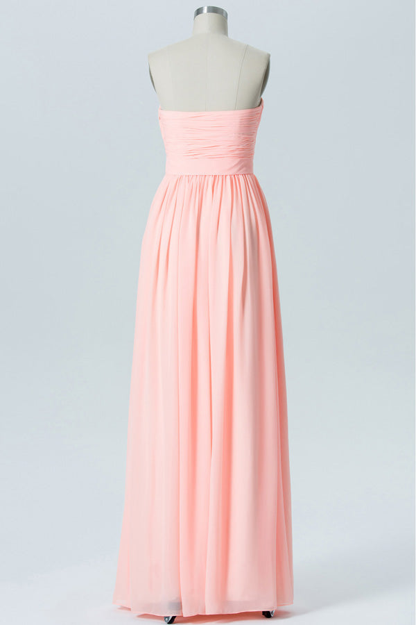 Peach Sherbet A Line Floor Length Sweetheart Spaghetti Mid Back Cheap Bridesmaid Dresses B150 - Ombreprom