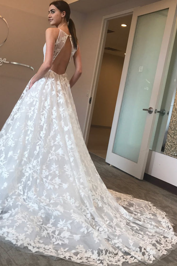 Unique Elegant A Line Court Train V Neck Sleeveless Open Back Lace Wedding Dresses With Pockets P136