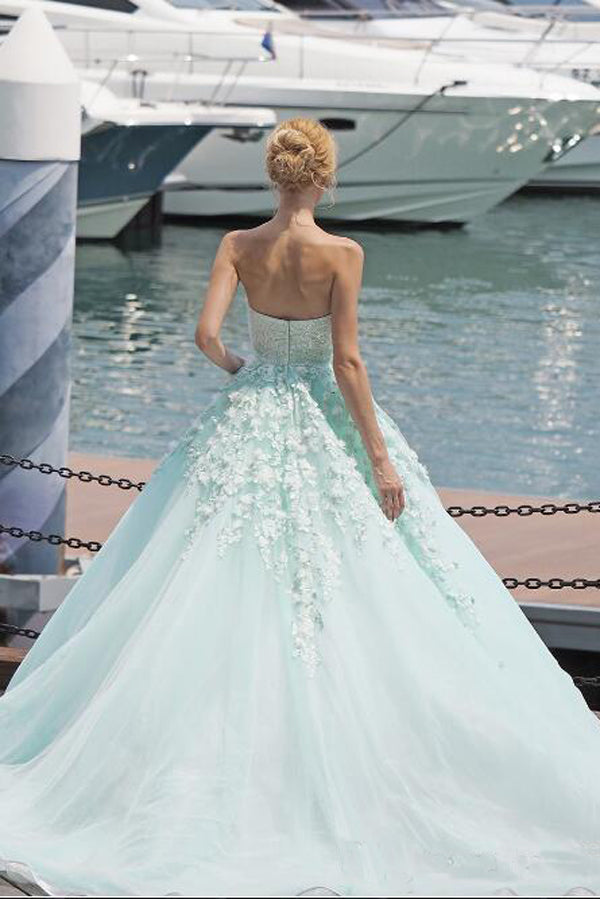 Mint Green Ball Gown Court Train Sleeveless Appliques Beading Long Prom Dress,Party Dress P201 - Ombreprom