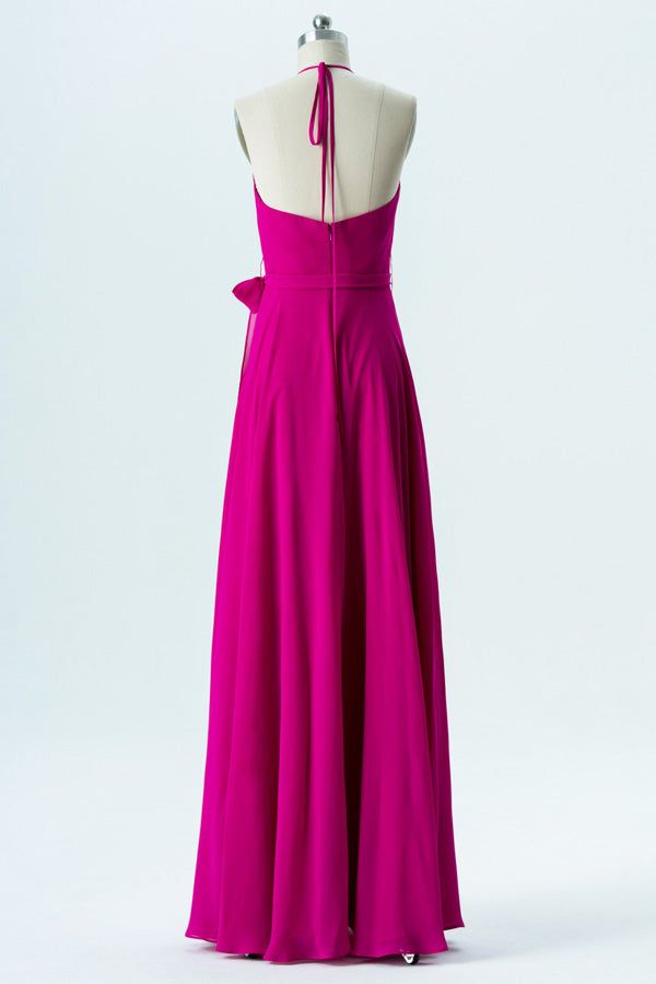 Peony A Line Floor Length Halter Sleeveless Open Back Cheap Bridesmaid Dresses B140 - Ombreprom