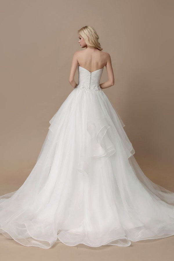 White A Line Court Train Sweetheart Sleeveless Ruffles Wedding Dress,Wedding Gowns W287