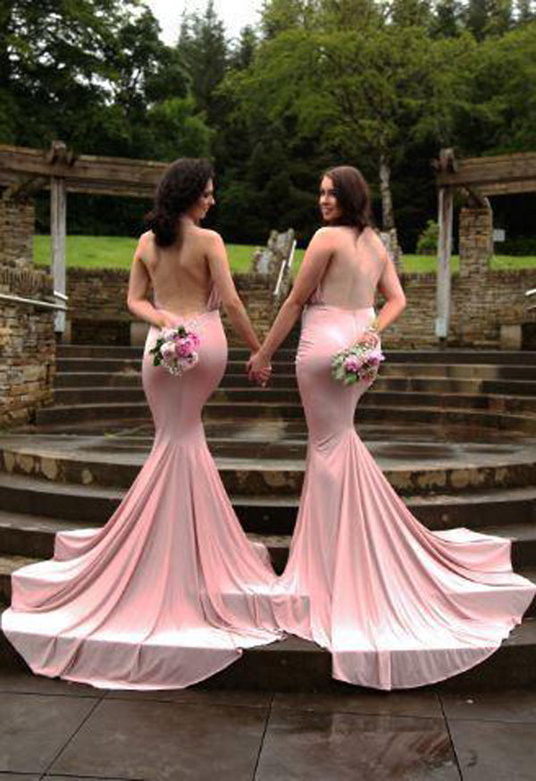 Pink Mermaid Court Train Halter Sleeveless Backless Cheap Bridesmaid Dress B271 - Ombreprom