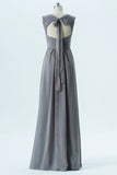 Storm Grey A Line Floor Length Sweetheart Sleeveless Keyhole Back Cheap Bridesmaid Dresses B166