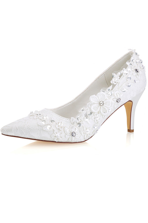 Elegant High Heel Handmade With Lace Appliques Wedding Shoes S20
