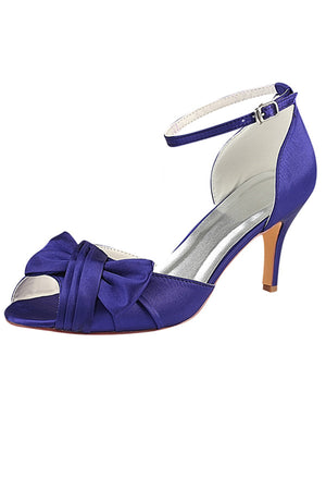 Charming Ankle Strap Satin With Bowknot Women Party Shoes S07 - Ombreprom