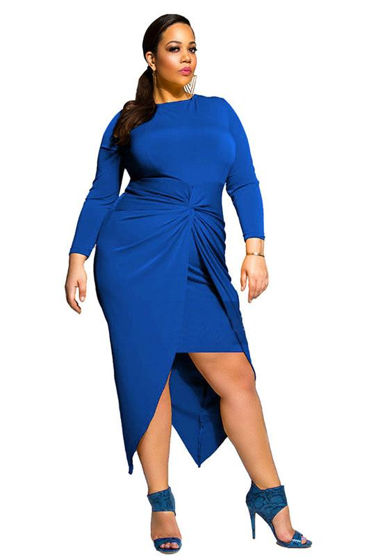 Sexy Royal Blue Long Sleeve Prom Dresses, Cheap Formal Dresses FP2582