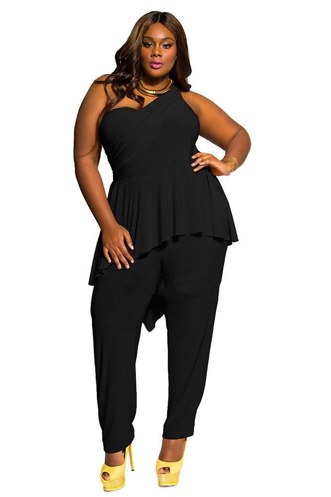 One Shoulder Black Sleeveless Plus Size Jumpsuit FP2600