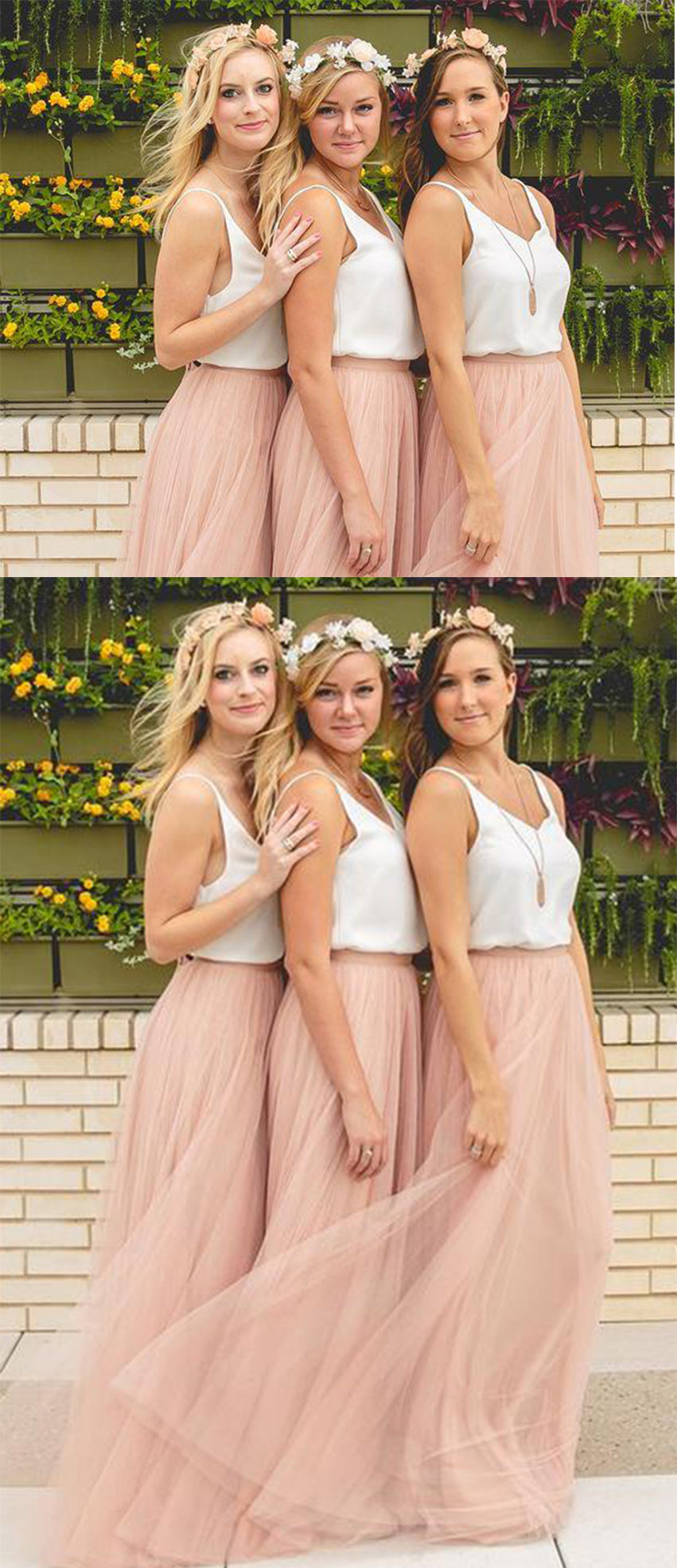 Simple Two Pieces Tulle Sleeveless Bridesmaid Dress B362