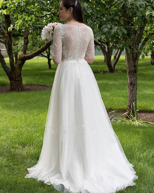 Charming Lace Sweetheart Neck Half Sleeves Wedding Dress W299 - Ombreprom
