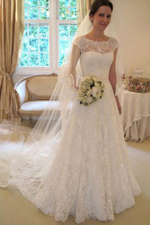 Gorgeous Round Neck Short Sleeves With Bowknot Wedding Dresses W340