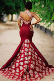Vintage Halter Appliques Sweep Train Sleeveless Mermaid Prom Dresses P940
