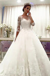 Romantic Tulle Round Neck 3/4 Sleeves Lace Ball Gown Wedding Dresses W382