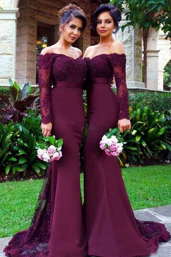 Impressive Burgundy Off the Shoudler Lace Long Sleeves Bridesmaid Dress B389