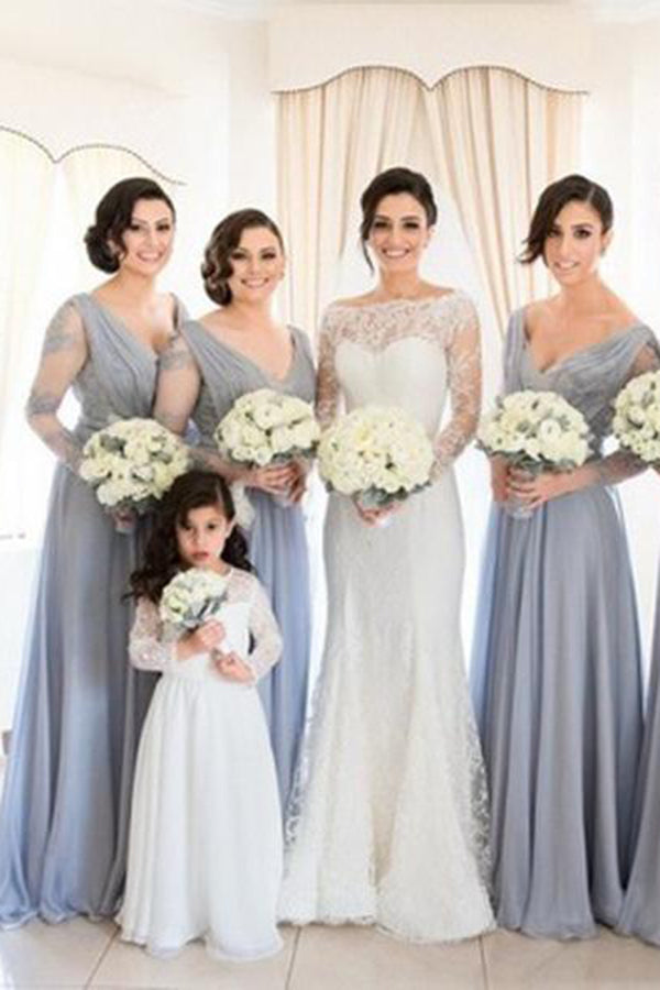 Unique Elegant Long A-line V Neck Long Sleeves Chiffon Lace Appliques Bridesmaid Dresses B445