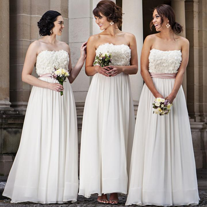 Elegant Straight Neckline Appliques Long Bridesmaid Dress B403