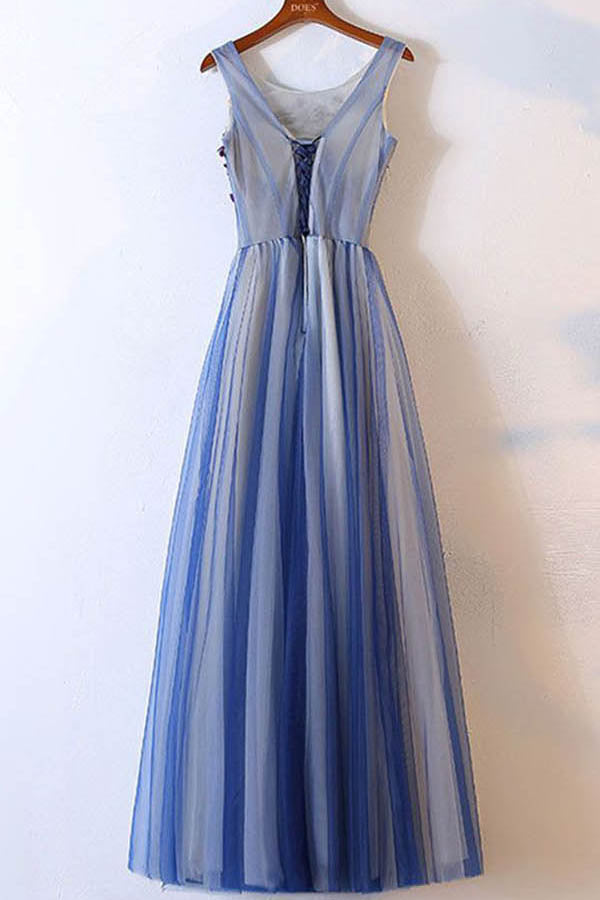 Blue Scoop Neck Sleeveless Prom Dress,A Line Floor Length Beading Evening Dress OMP35 - Ombreprom