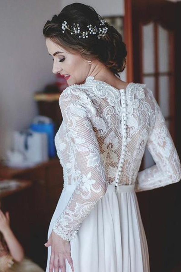 Gorgeous V Neck Long Sleeves Sweep Train Chiffon Lace Appliques Wedding Dress W427