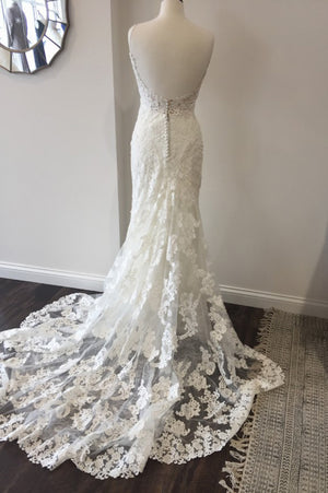 White Trumpet Court Train Sweetheart Spaghetti Lace Wedding Gown,Cheap Wedding Dress W178 - Ombreprom