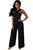 Elegant Black Criss Cross Neck Plus Size Jumpsuit FP2591