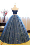Navy Blue Ball Gown Sweetheart Sleeveless Lace Up Pearl Appliques Prom Dress,Formal Dress P297 - Ombreprom