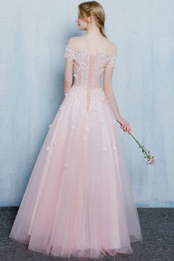 Pink A Line Floor Length Off Shoulder Appliques Beading Long Prom Dress,Party Dress P189 - Ombreprom