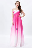 Ombre A Line Brush Train Sweetheart Strapless Sleeveless Chiffon Lace Up Prom Dress,Formal Dress O17 - Ombreprom