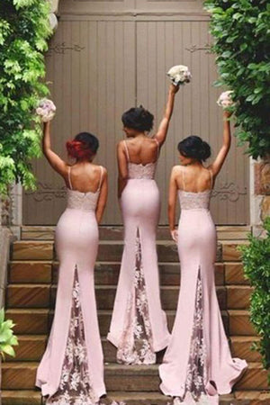 Mermaid Court Train Sweetheart Spaghetti Sleeveless Open Back Appliques Bridesmaid Dress B215