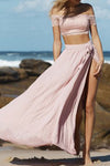 Pink Two Piece A Line Floor Length Off Shoulder Side Slit Lace Long Prom Dress,Party Dress P217 - Ombreprom