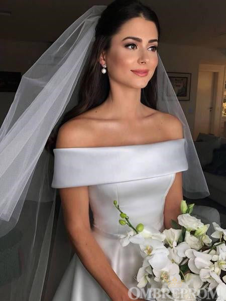 Off Shoulder A Line Satin Open Back Wedding Dresses Bridal Gown W577