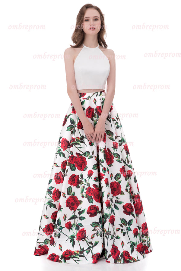 Two Piece A Line Halter Sleeveless Mid Back Floral Cheap Prom Dress,Formal Dress