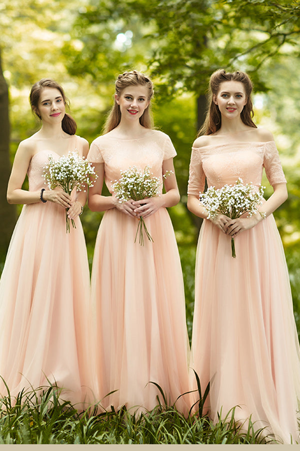 Pink A Line Floor Length Sweetheart Sleeveless Chiffon Cheap Bridesmaid Dresses B292 - Ombreprom