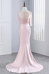 Pink Sheath Sweep Train Sheer Neck 3/4 Sleeve Sheer Back Appliques Prom Dress,Formal Dress P106 - Ombreprom
