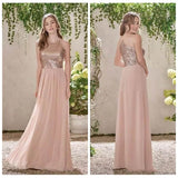 Stunning Spaghetti Straps Backless With Sequins Chiffon Bridesmaid Dress B418