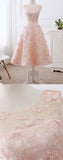 Elegant A-line Scoop Neck Tea Length Lace Pink Short Prom Dresses P606