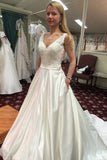 White A Line Chapel Train V Neck Backless Appliques Wedding Gown,Cheap Wedding Dress W175