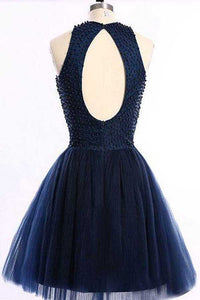 Navy Blue A Line Halter Sleeveless Keyhole Back Beading Short Homecoming Dress H269 - Ombreprom