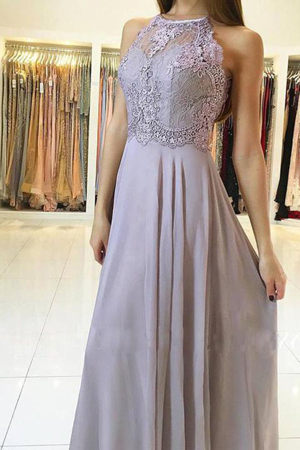 Elegant High Neck Open Back Sleeveless With Lace Appliques Prom Dress P659