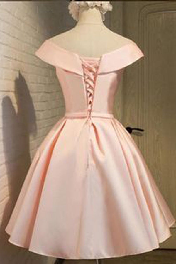 Pink Off Shoulder Short Sleeve Homecoming Dresses,Open Back Appliques Short Prom Dress H152 - Ombreprom