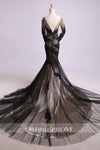 Charming Black Tulle Appliques Mermaid Trumpet Long Sleeves Evening Dress Prom Dress P769 - Ombreprom